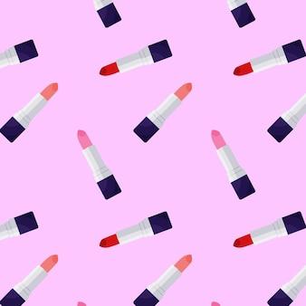 Wzór z szminkami do projektowania tekstyliów graficzny nowoczesny wzór