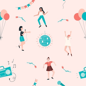 Wzór z tańczących kobiet, balony, kula dyskotekowa, magnetofon, kwiaty.
