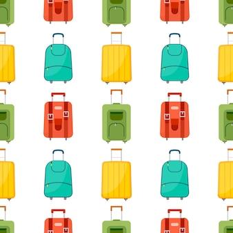 Wzór z torbą podróżną z bagażem. tło z walizką na podróż. ilustracja wektorowa