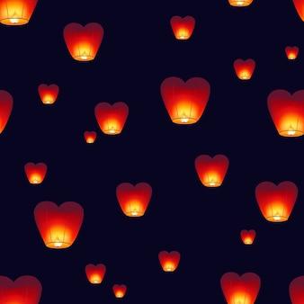 Wzór z tradycyjnymi latarniami kongming latającymi w ciemne nocne niebo. tło z chińskimi dekoracjami na obchody festiwalu w połowie jesieni. kolorowa ilustracja do druku na tekstyliach.