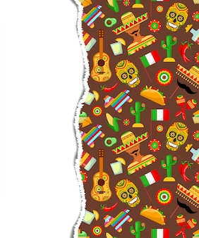 Wzór z tradycyjnymi meksykańskimi atrybutami