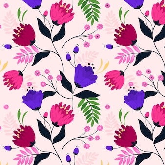 Wzór z tropikalnymi kwiatami i liśćmi
