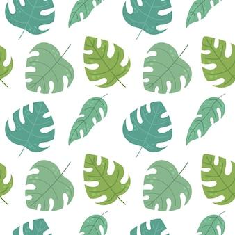 Wzór z tropikalnymi liśćmi w stylu płaski ilustracja wektorowa