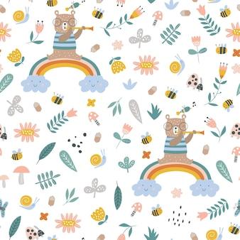 Wzór z tropikalnymi zwierzętami kreatywne przedszkole