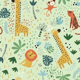 Wzór z tropikalnymi zwierzętami