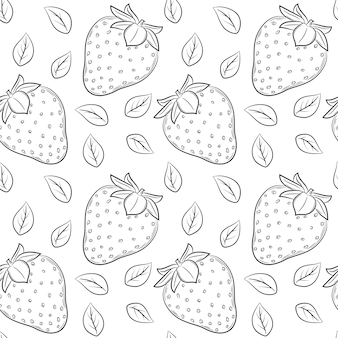Wzór z truskawkami i liśćmi. czarno-białe ręcznie rysowane elementy liniowe