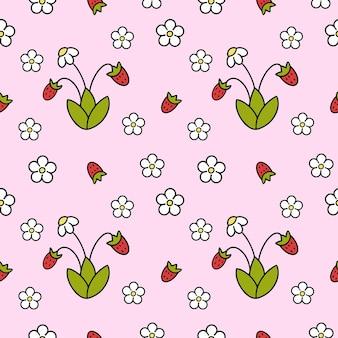 Wzór z truskawkami. różowe tło do nadruku na tkaninie dziecięcej, szycia ubrań dla dziewczynek. dobry papier do pakowania.