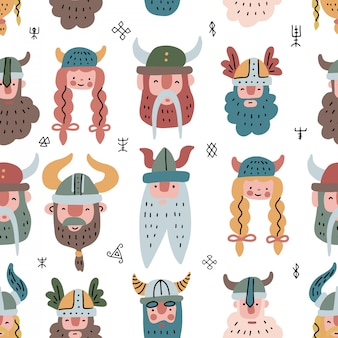 Wzór z twarzami wikingów. płaskie skandynawskie powtarzające się tło północnych lasów. postacie mężczyzn i kobiet.