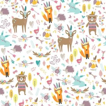 Wzór z uroczych zwierząt plemiennych w stylu cartoon. ilustracja leśnych przyjaciół, niedźwiedź, jeleń, lis, jeż, wiewiórka, sowa.