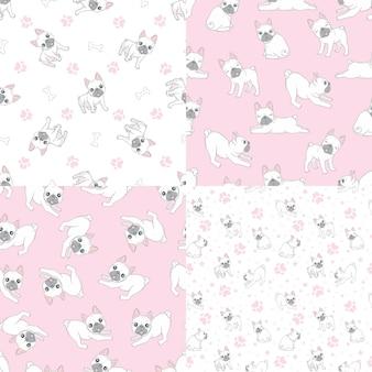 Wzór z uroczym buldogiem francuskim na różowym tle