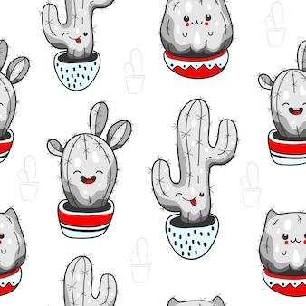Wzór z uroczym kaktusem kawaii i sukulentami ze śmiesznymi twarzami w doniczkach. białe tło. ilustracja wektorowa
