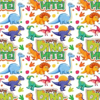 Wzór z uroczymi dinozaurami i czcionką na białym tle