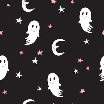 Wzór z uroczymi duchami. halloweenowy projekt tkaniny i papieru, tekstury powierzchni.