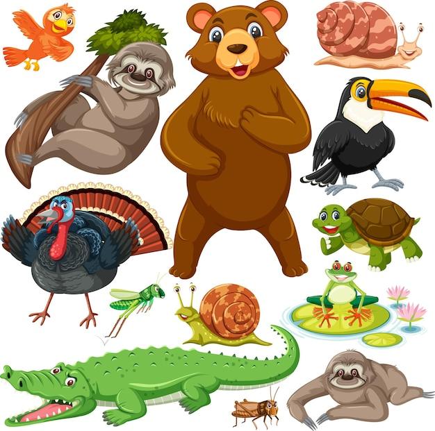 Wzór z uroczymi dzikimi zwierzętami postaci z kreskówek
