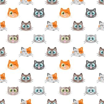 Wzór z uroczymi kotami