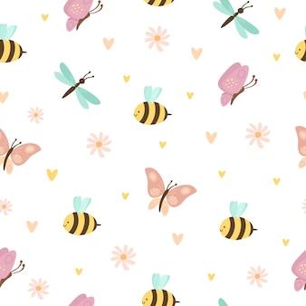 Wzór z uroczymi owadami