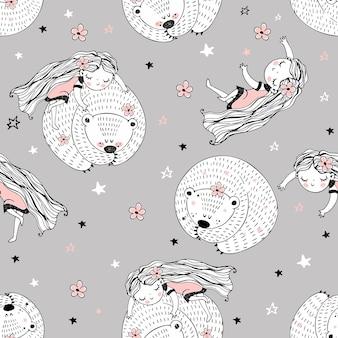 Wzór z uroczymi postaciami w stylu doodle. dziewczyna i niedźwiedź śpią. wektor.