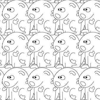Wzór z uroczymi psami. ilustracja wektorowa z zabawnymi szczeniętami. tło dla tkanin, tekstyliów, papieru do pakowania lub tapety.