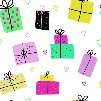 Wzór z uroczymi ręcznie rysowanymi pudełkami na prezenty i sercami