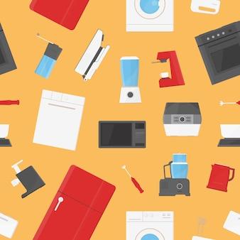 Wzór z urządzeniami kuchennymi, sprzętem, przyborami, narzędziami ręcznymi i elektronicznymi do przetwarzania żywności, przygotowania lub gotowania w domu. kolorowa ilustracja do tapety, nadruk tekstylny.