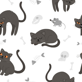 Wzór z wektor ładny czarny koty i myszy. papier cyfrowy z postaciami halloween. śmieszne jesień wszystkich świętych tło z przerażającymi zwierzętami, czaszkami, kośćmi dla dzieci.