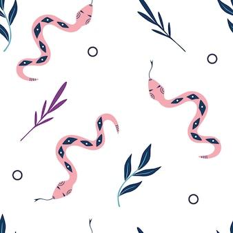 Wzór z wężami i liśćmi. wystrój na halloween. tło z mistycznymi elementami.