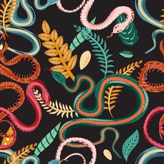 Wzór z wężami i roślinami. kolorowa tapeta na tropikalny motyw na ciemnym tle.