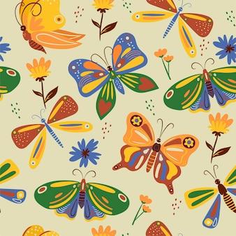 Wzór z wielobarwnymi motylami. grafika wektorowa.
