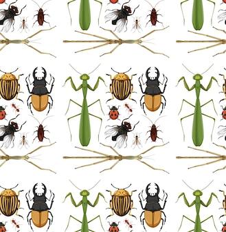 Wzór z wieloma owadami na białym tle
