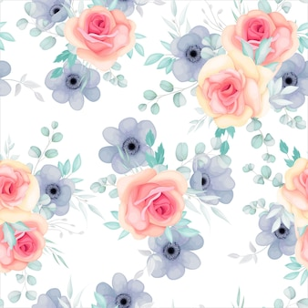 Wzór z wiosennych kwiatów i liści