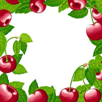 Wzór z wiśni. ilustracja wiśni z zielonymi liśćmi. ilustracja na ozdobny plakat, godło produktu naturalnego, rynek rolników