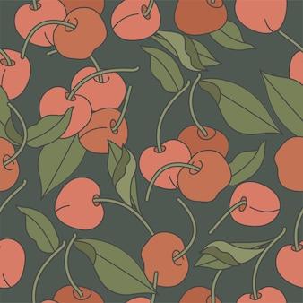 Wzór z wiśni. modne ręcznie rysowane tekstury. nowoczesny abstrakcyjny wzór dla dokumentów.