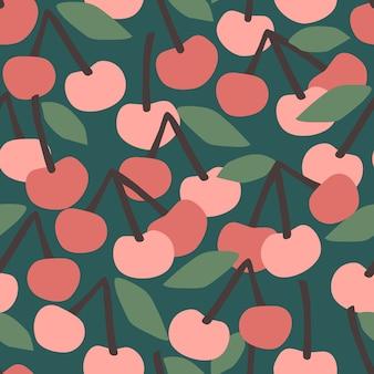 Wzór z wiśni. modne ręcznie rysowane tekstury.