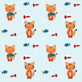 Wzór z wizerunkiem kotów z rybami. jeden kot trzyma w łapach rybę, drugi śni o rybie. ilustracja wektorowa