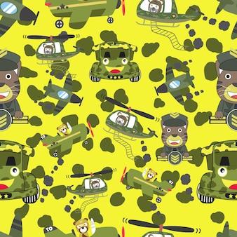 Wzór z wojskowym pojazdem wojennym samolotem samochodowym helikopterem i wojskiem