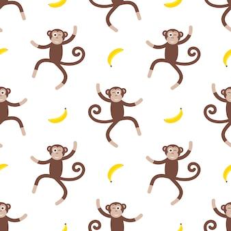 Wzór z zabawną małpką i bananem