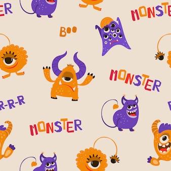Wzór z zabawnymi potworami w stylu cartoon.