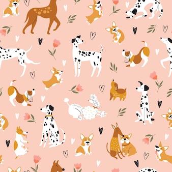 Wzór z zabawnymi psami z kreskówek