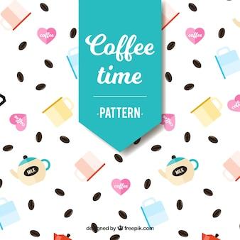 Wzór z ziaren kawy i kawiarni