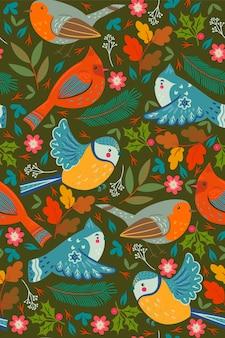 Wzór z zimowymi ptakami i kwiatowymi elementami.