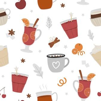Wzór z zimowymi tradycyjnymi napojami rozgrzewającymi. z świątecznymi gorącymi napojami, przyprawami, owocami