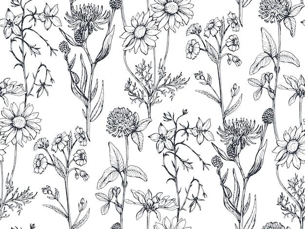 Wzór z ziół i kwiatów