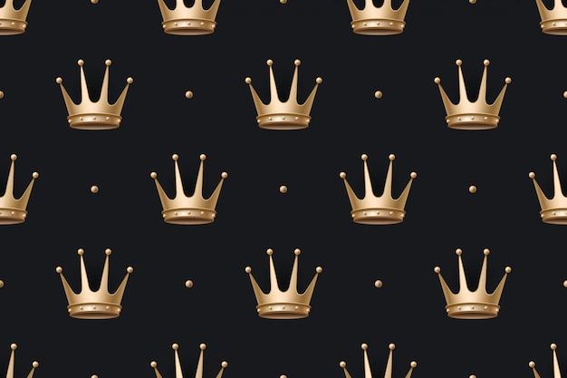 Wzór z złotą koronę króla