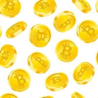 Wzór z złotych monet bitcoin pod różnymi kątami na białym tle. koncepcja pieniądza waluty cyfrowej. symbol kryptowaluty, technologia blockchain
