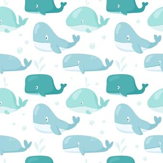 Wzór zabawnych dziecinnych wielorybów. doodle zdjęcia podwodnej fauny