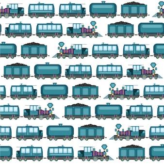 Wzór zabytkowych lokomotyw na pustym tle