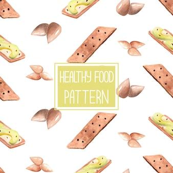 Wzór zdrowej żywności z tostami z awokado