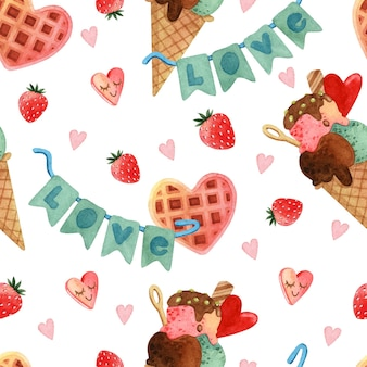 Wzór ze słodyczami i truskawkami na akwareli