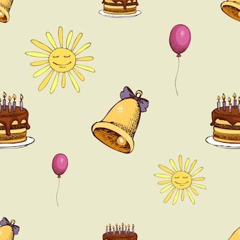 Wzór ze słońcem, dzwonkiem i ciastem. hipster bezszwowe tło dekoracji.