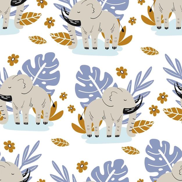 Wzór ze słoniem i ręcznie rysowanymi elementami